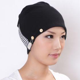 医療用帽子 エコ染色黒コンビシャロット オーガニックコットン製 (型番:B034)