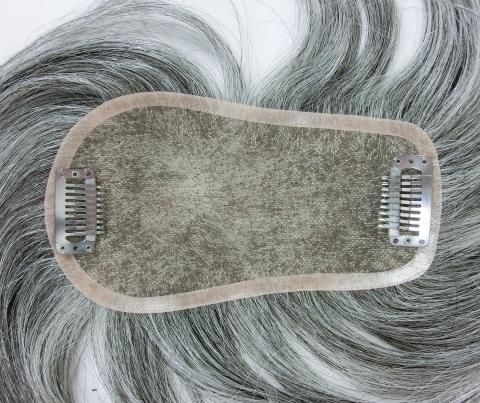 人毛白髪30%の貴重なウィッグ 自毛に白髪が多い人のためのヘアピース 白髪染めヘナもOK