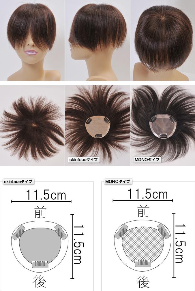 分け目から前髪部までカバーするヘアピースLLサイズ 自毛で作るもOK