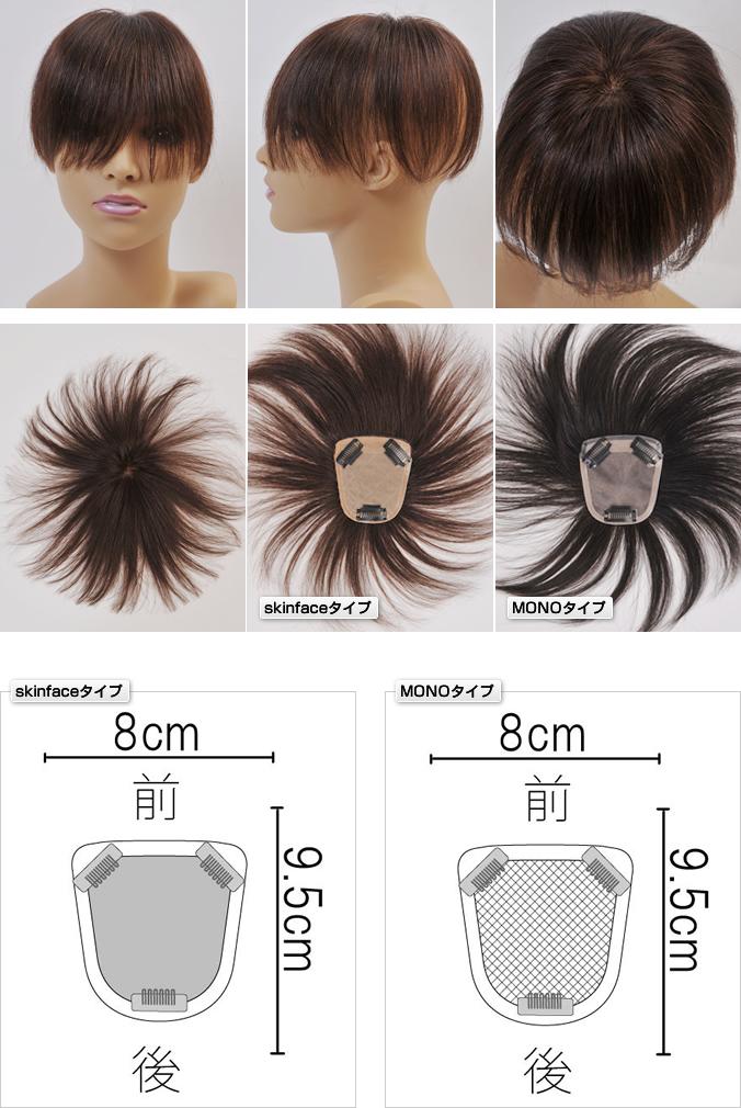 分け目から前髪部までカバーするヘアピースSサイズ 自毛で作るもOK
