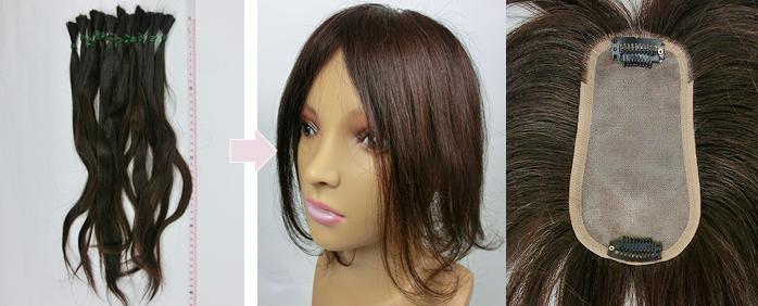 自毛で作るヘアピース TP100R-MONO製作例 くせ毛を生かして制作