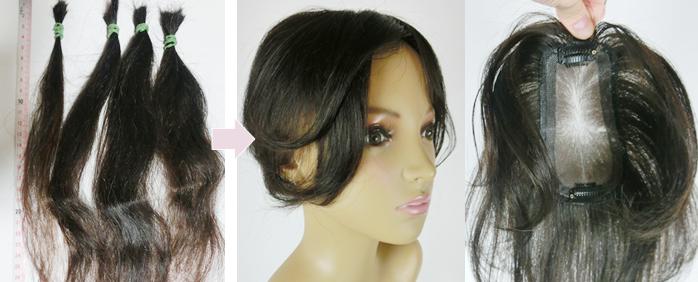 自毛で作るヘアピース TP100R-MONO製作例 くせ毛の髪の毛