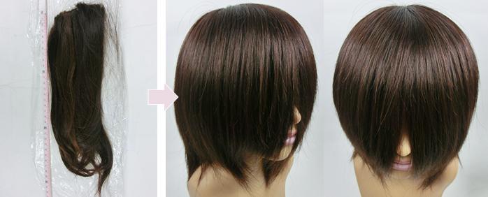 娘の毛髪でお母さんの医療用かつら 自毛で作るオーダーメイドかつら 地毛で作成したヘアピース