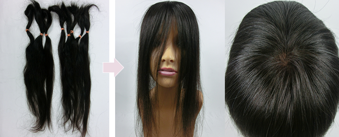 自毛で作るヘアピース作成例 白髪入り自髪から作るウィッグ