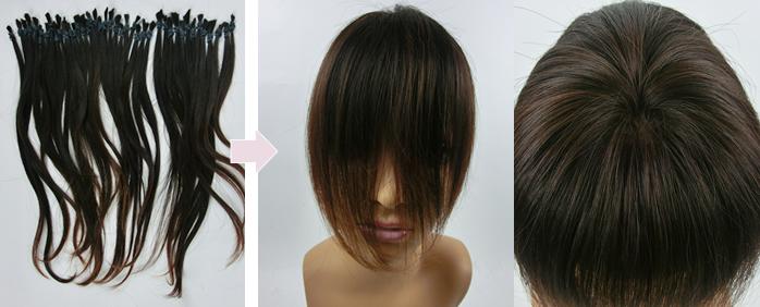 自毛で作るヘアピース作成例 40㎝の自髪から作るウィッグ
