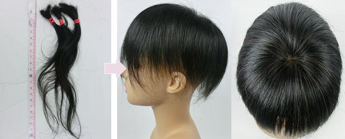自毛で作るヘアピース作成例 自髪不足の場合は工場の髪を足して作るウィッグ