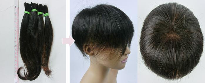 自毛で作るヘアピース作成例 70代の女性の自髪から作るウィッグ