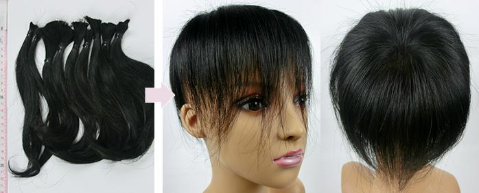 自毛で作るヘアピース TP100R-MONO製作例 20㎝の髪から