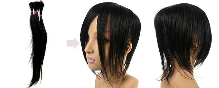 自毛で作るヘアピース作成例 40㎝の地髪で作ったウィッグ