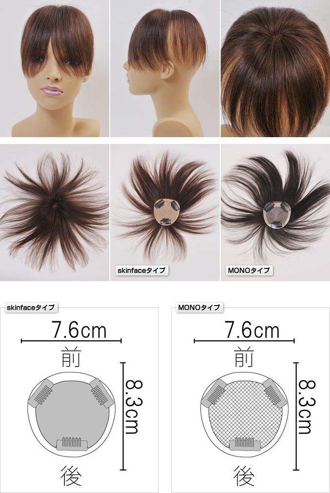 分け目部分をカバーするヘアピースSサイズ 自毛でも作れるウィッグ