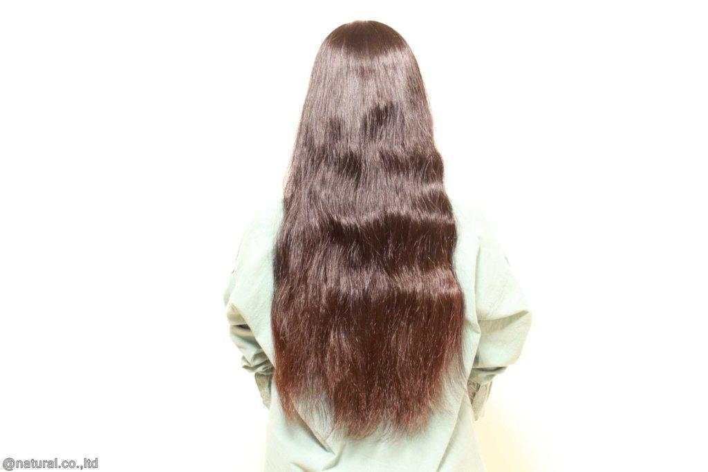 カット前のモデルB様 つやつやロングの健康毛