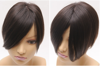 頭頂部をすっぽり覆う大き目ヘアピース 激安格安 レミーヘアのきれいな髪