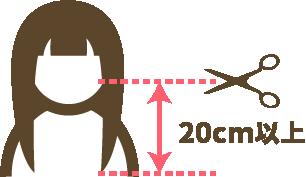 自毛で作るヘアピースは20センチ以上の髪の長さが必要