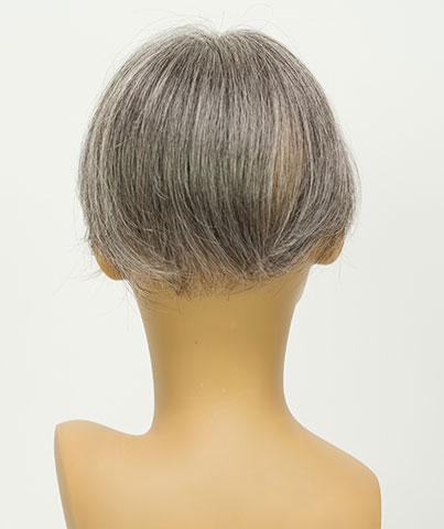 人毛白髪50%の貴重なウィッグ 自毛に白髪が多い人のためのヘアピース 白髪染めヘナもOK