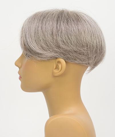 人毛白髪70%の貴重なウィッグ 自毛に白髪が多い人のためのヘアピース 白髪染めヘナもOK