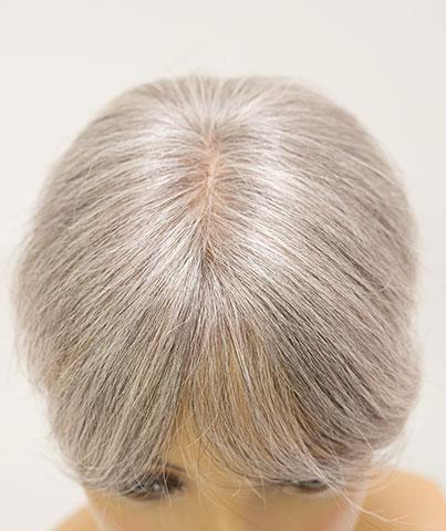 人毛白髪の70%貴重なウィッグ 自毛に白髪が多い人のためのヘアピース 白髪染めヘナもOK