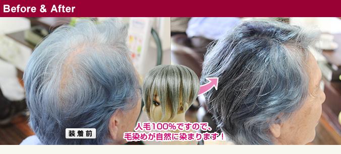 人毛白髪50%のヘアピース ヘナで自毛と一緒に毛染めしたウィッグ